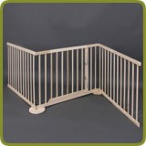 Expansible safety gate room divider playpen 180-240cm, wood, 3 elements, img 1 - Schutzgitter und Laufgitter